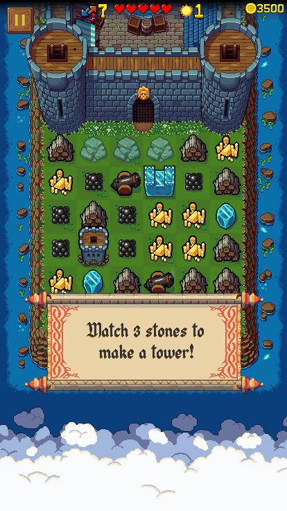 Screenshot of match-3 stones for a tower