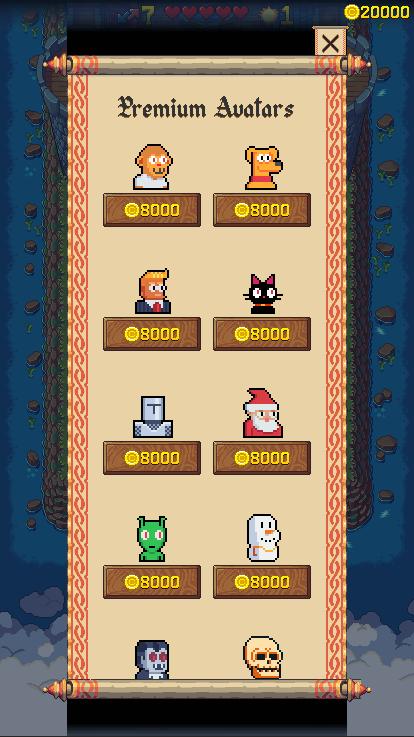 Screenshot of the pixel art avatars