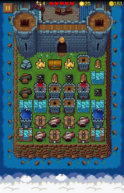 Tower Defense game board with walls and cannons