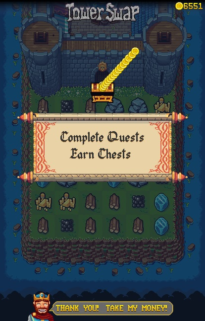 Pixel art menu scroll with chest and gold