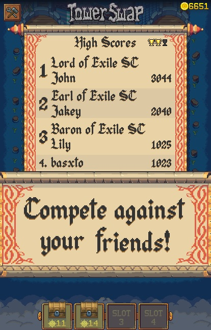 Game leaderboard with medieval font